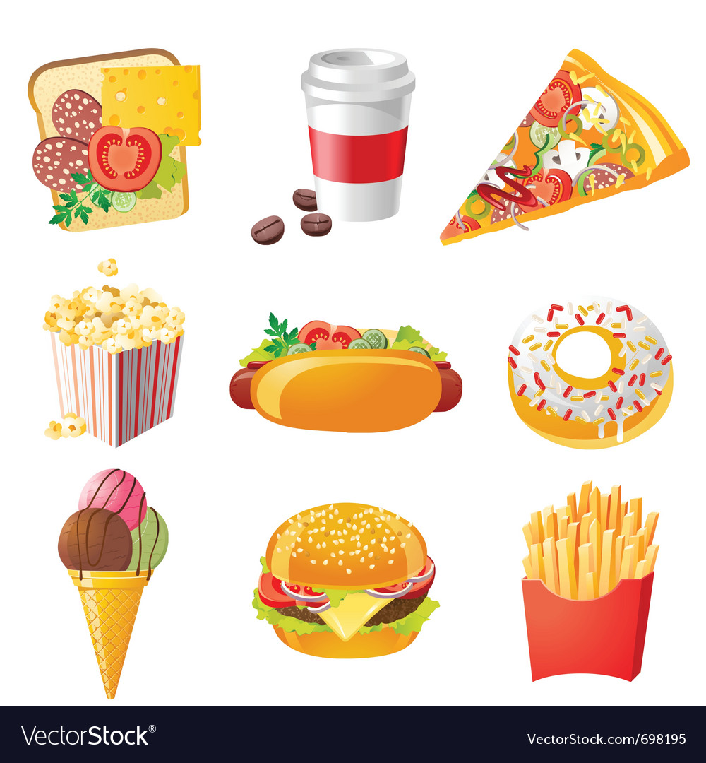 9 realistic fastfood icons vector | Price: 3 Credit (USD $3)