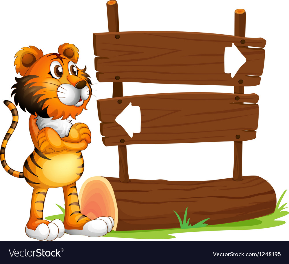A wooden signboard with a tiger vector | Price: 1 Credit (USD $1)