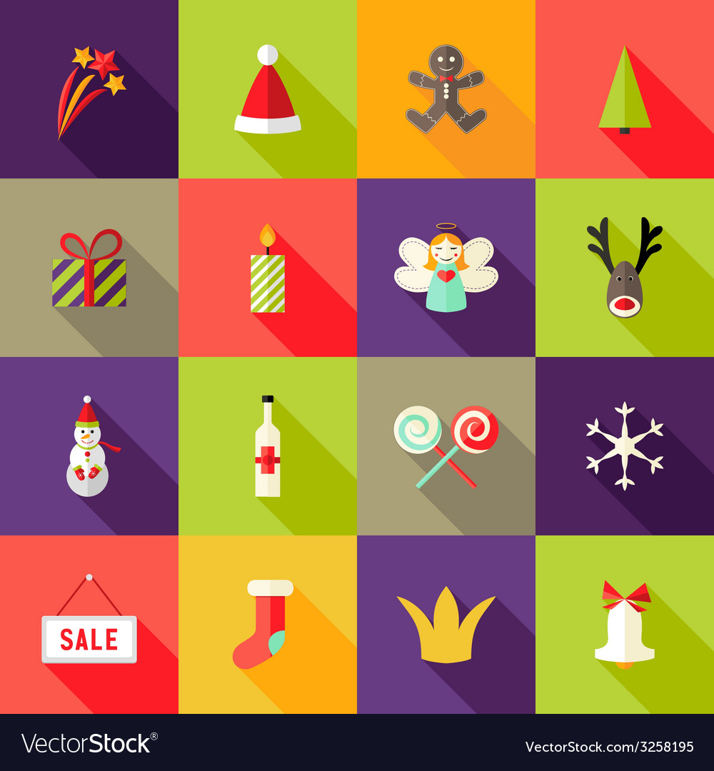 Christmas square flat icons set 3 vector | Price: 1 Credit (USD $1)