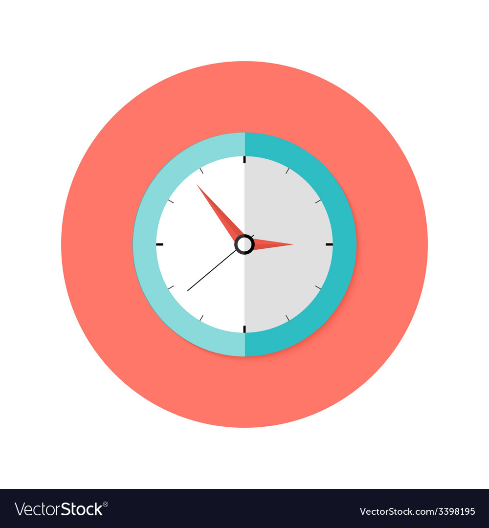 Clock flat circle icon vector | Price: 1 Credit (USD $1)