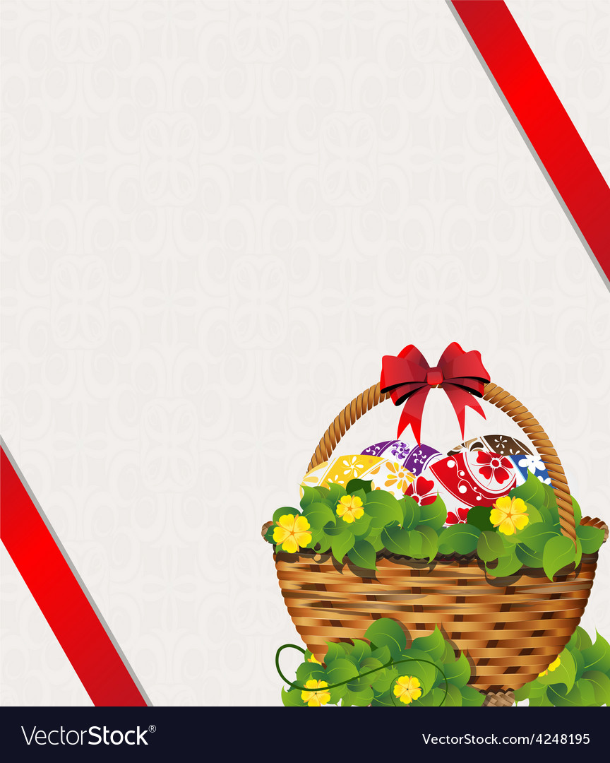 Easter basket on a beige background vector | Price: 3 Credit (USD $3)