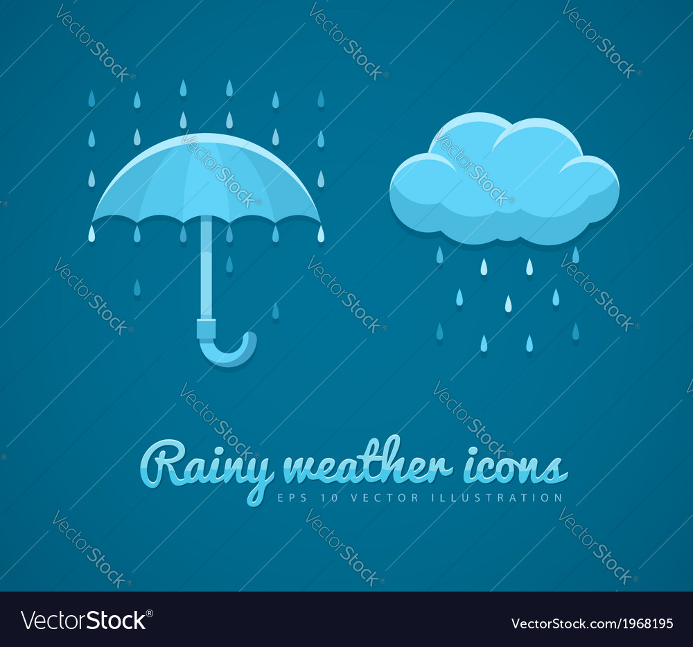 Flat icons of rainy weather vector | Price: 1 Credit (USD $1)