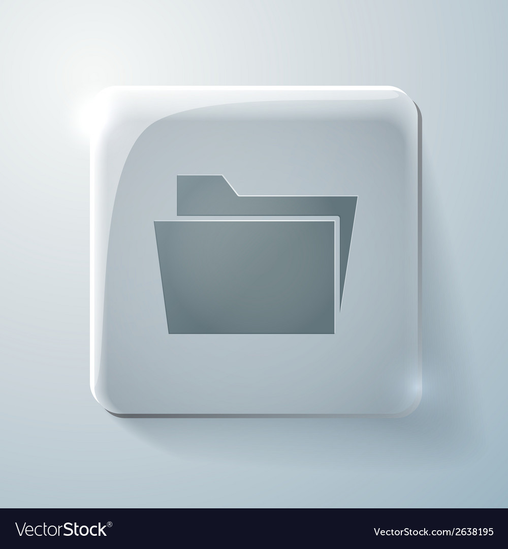 Folder for documents glass square icon vector | Price: 1 Credit (USD $1)
