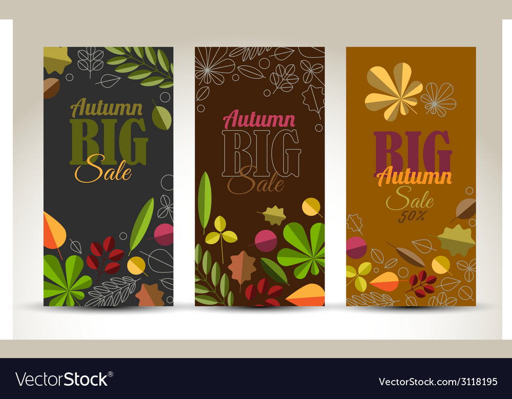 Fresh minimalist fall vertical banners with leafs vector | Price: 1 Credit (USD $1)