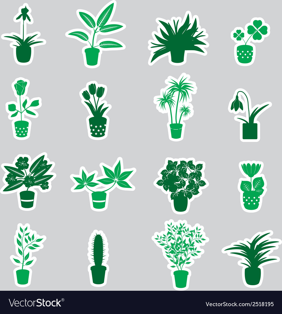 Home houseplants and flowers in pot stickers eps10 vector | Price: 1 Credit (USD $1)