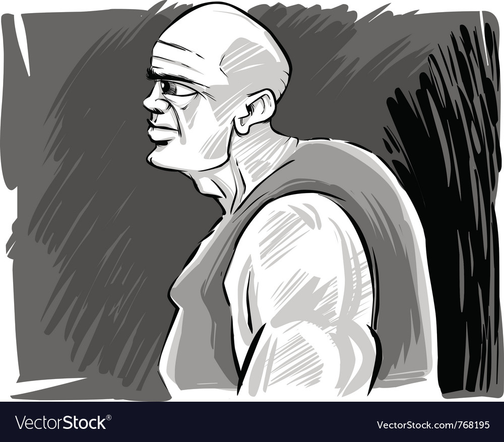 Muscular bald man vector | Price: 1 Credit (USD $1)