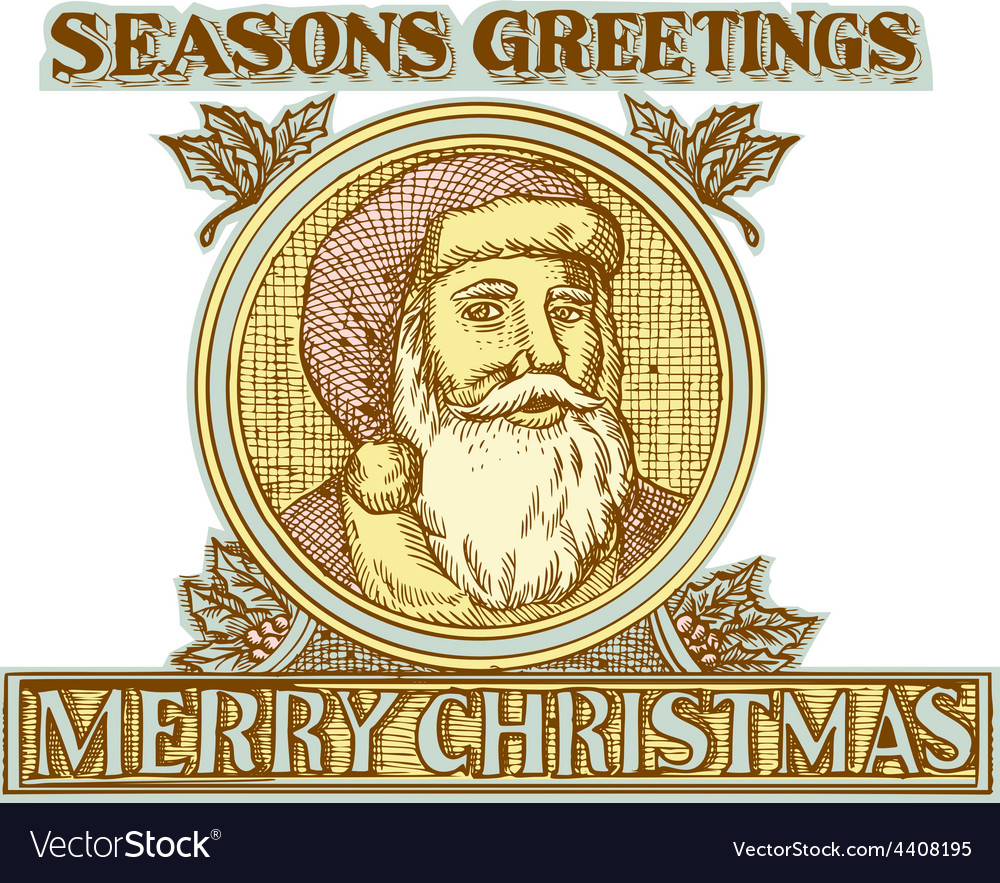 Santa claus father christmas holly etching vector | Price: 1 Credit (USD $1)