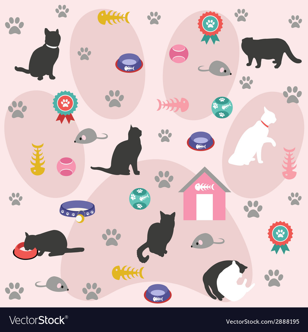 Seamless pattern cat icons vector | Price: 1 Credit (USD $1)