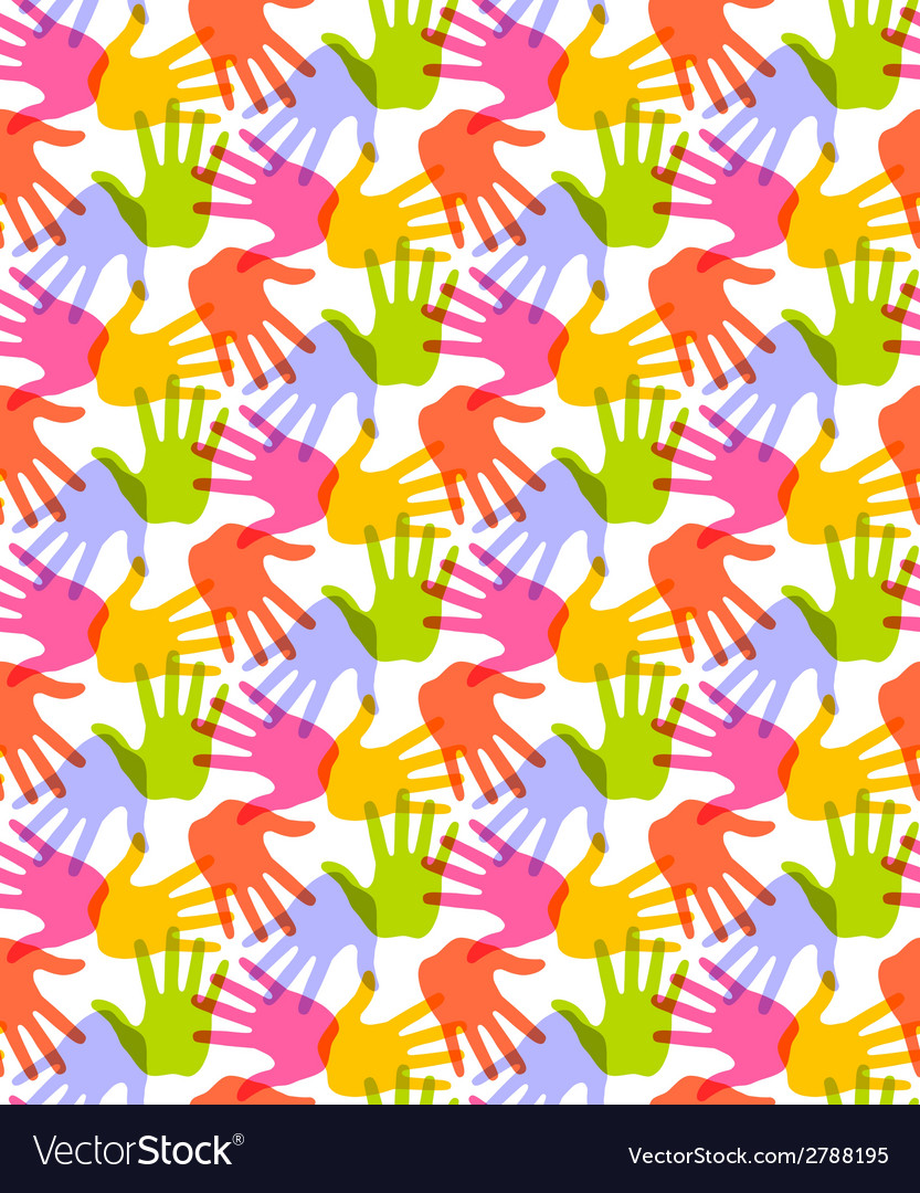 Seamless pattern print of hands vector | Price: 1 Credit (USD $1)
