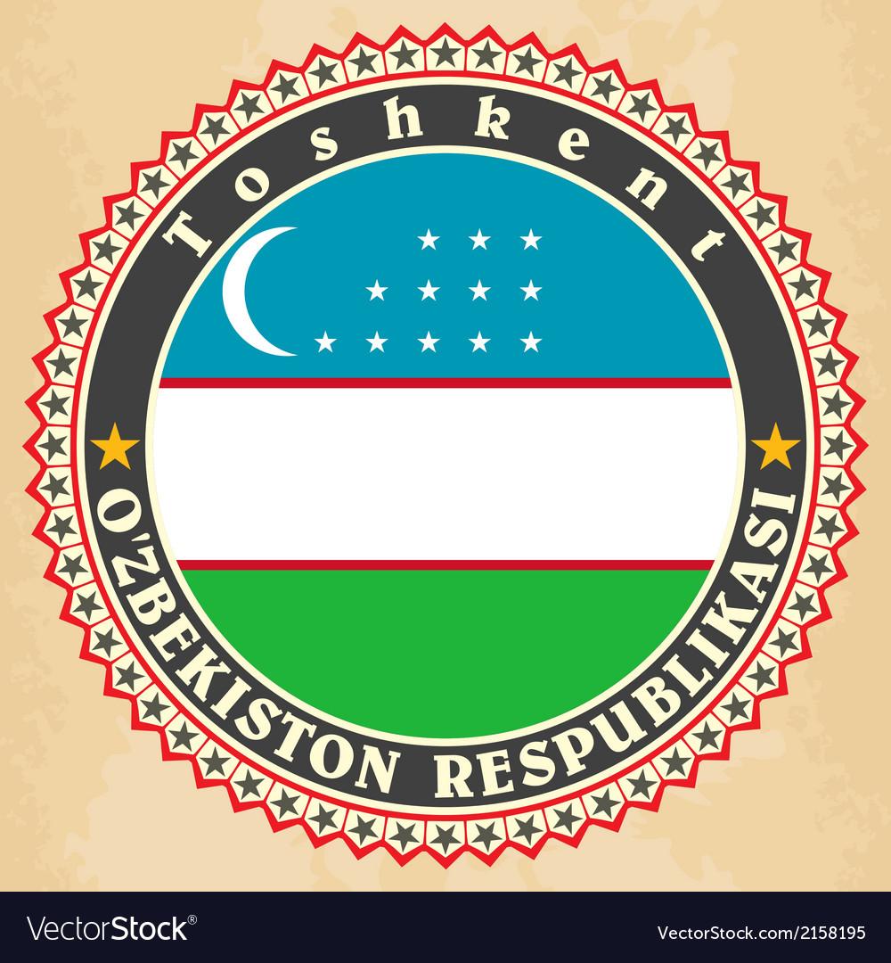 Vintage label cards of uzbekistan flag vector | Price: 1 Credit (USD $1)