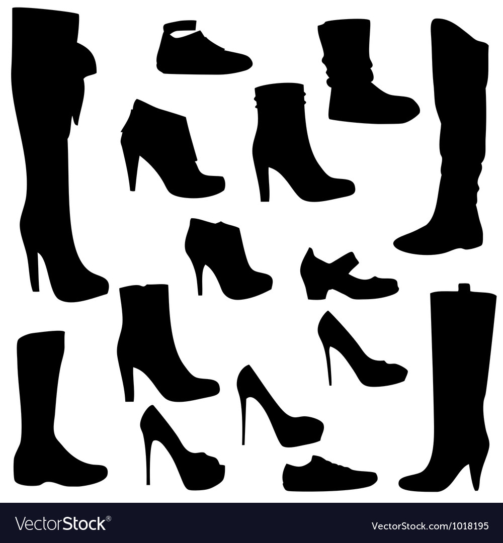 Womens shoes set black isolated vector | Price: 1 Credit (USD $1)