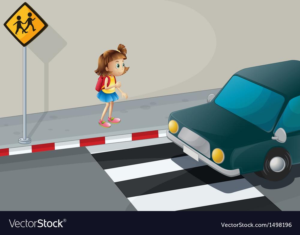 A little girl near the pedestrian lane vector | Price: 1 Credit (USD $1)