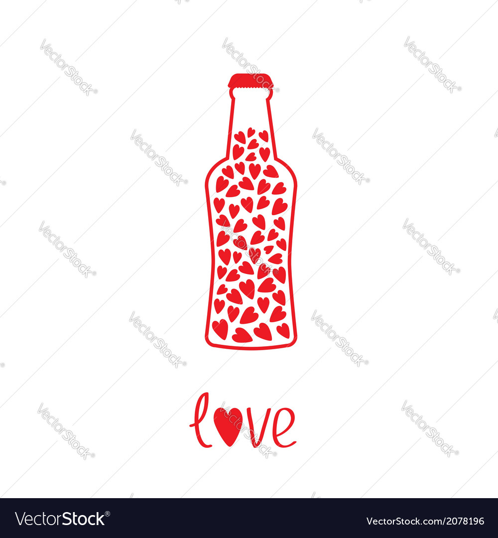 Beer bottle with hearts inside love card vector | Price: 1 Credit (USD $1)