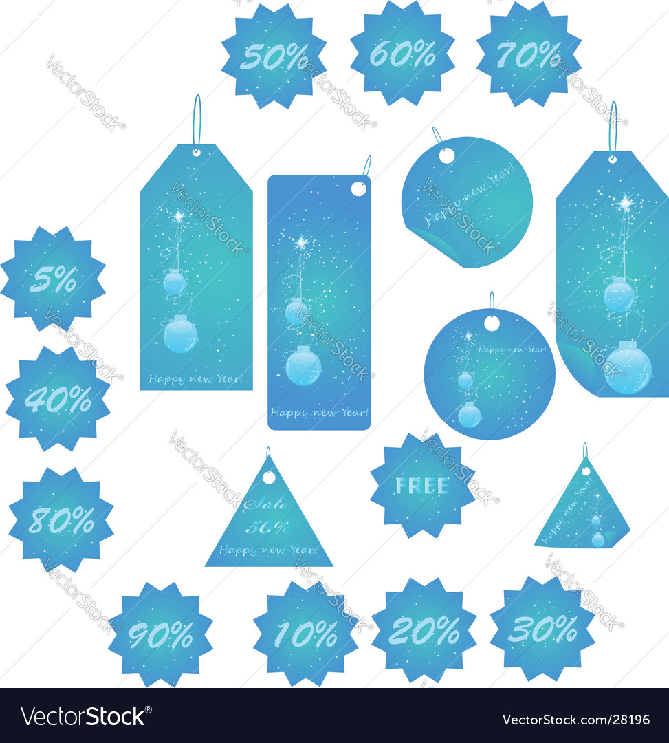 Blue christmas labels mega pack vector | Price: 1 Credit (USD $1)