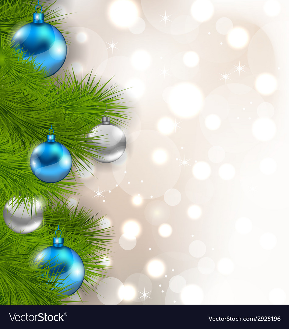 Christmas composition with fir branches and glass vector | Price: 1 Credit (USD $1)