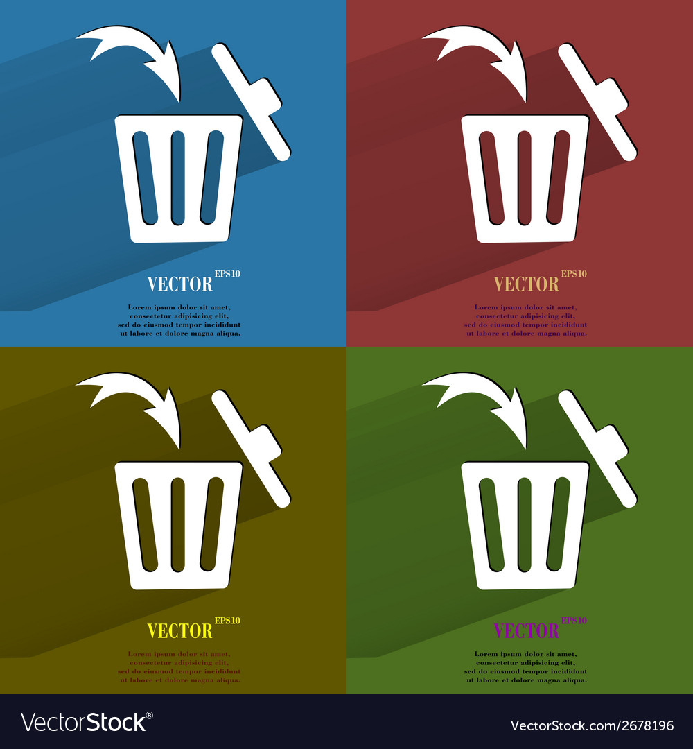 Color set trash bin flat modern web button with vector | Price: 1 Credit (USD $1)
