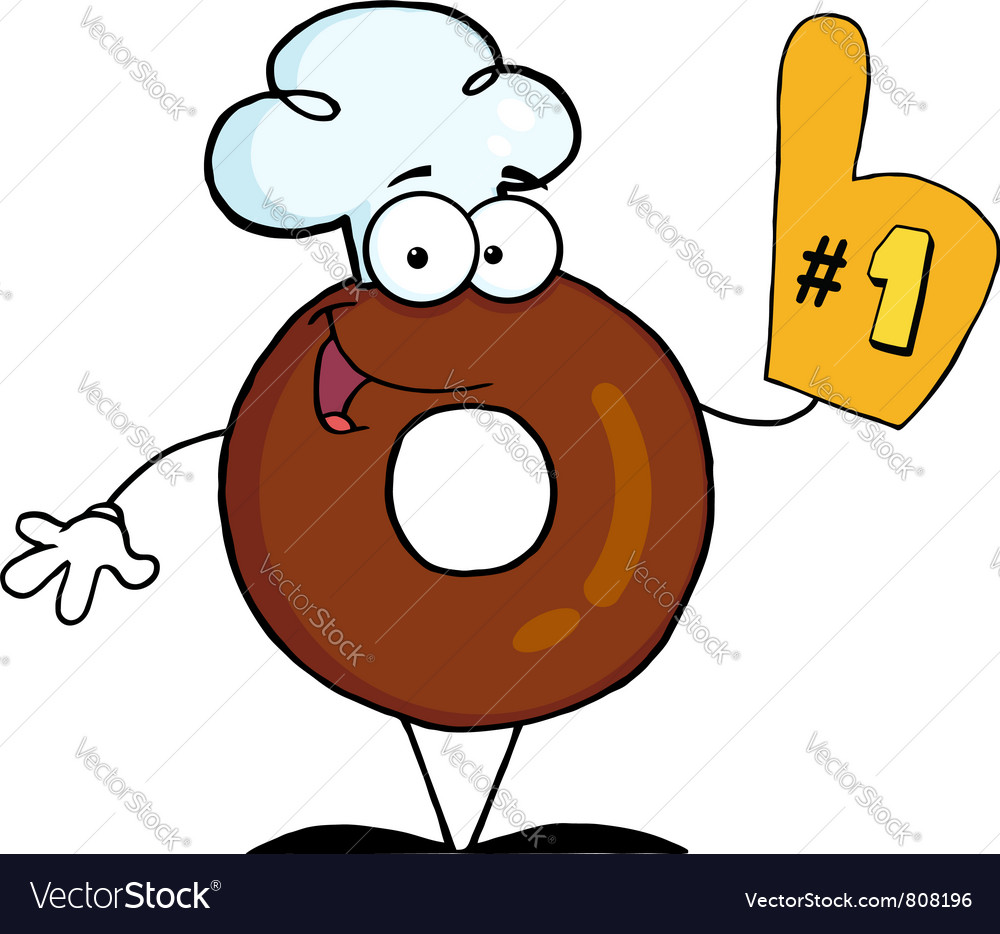 Donut cartoon character number one vector | Price: 1 Credit (USD $1)