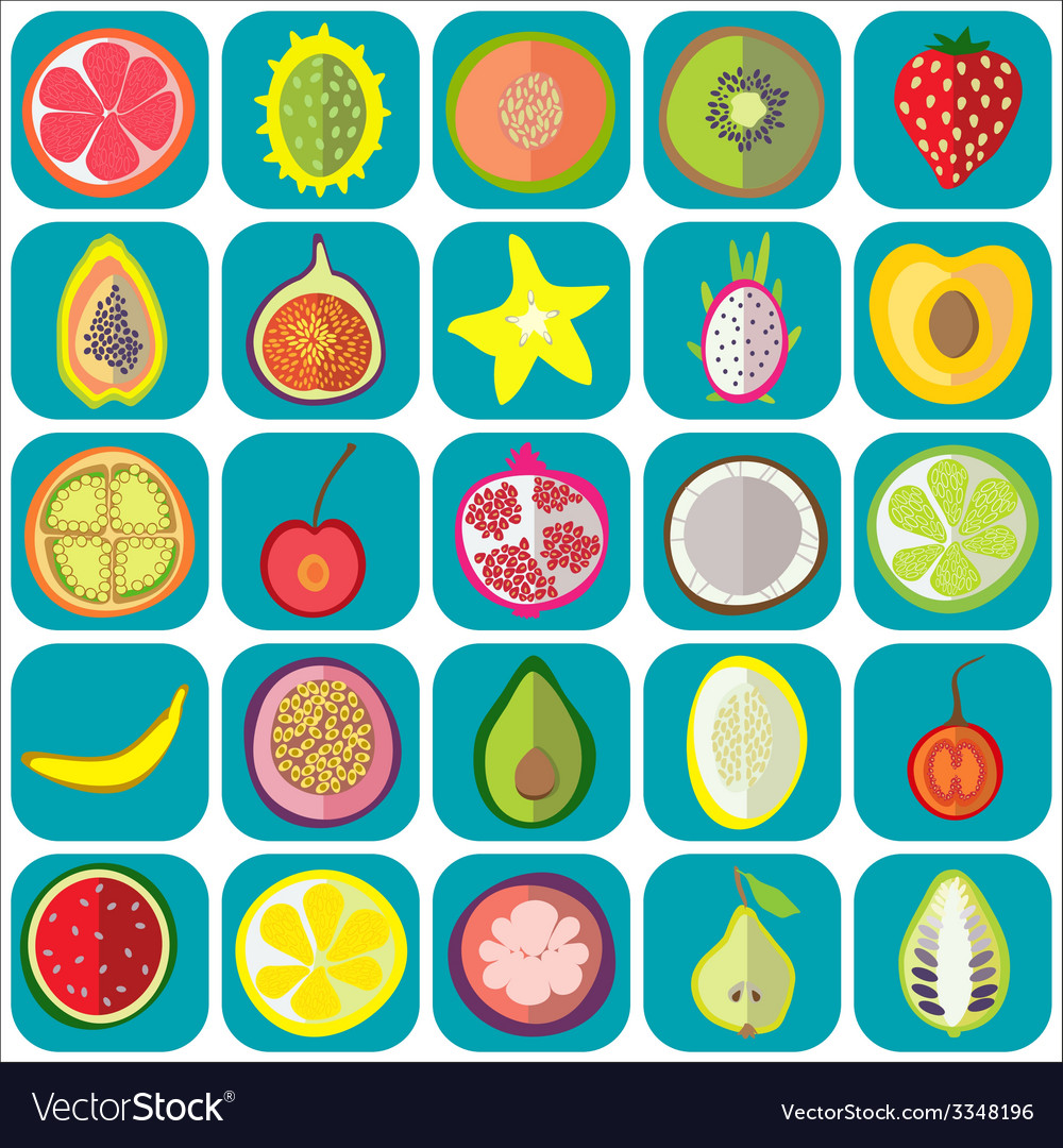 Fruit icons flat vector | Price: 1 Credit (USD $1)