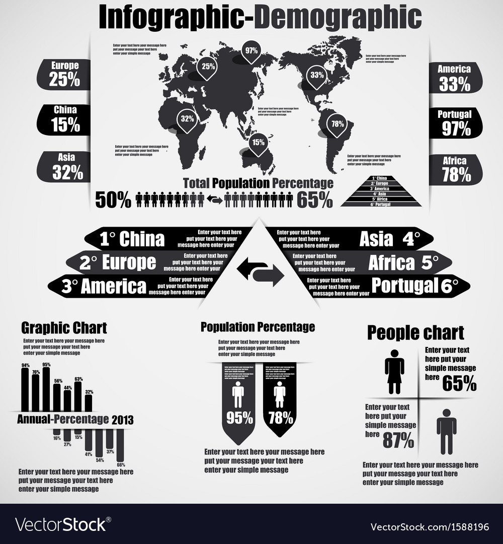 Infographic demographic new style 10 black vector | Price: 1 Credit (USD $1)