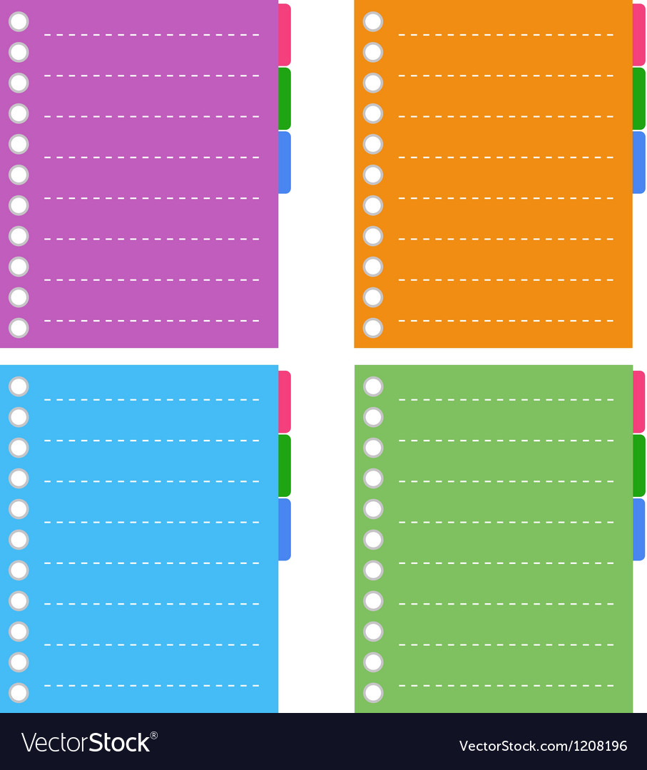 Lined spiral notepad papers with tabs vector | Price: 1 Credit (USD $1)