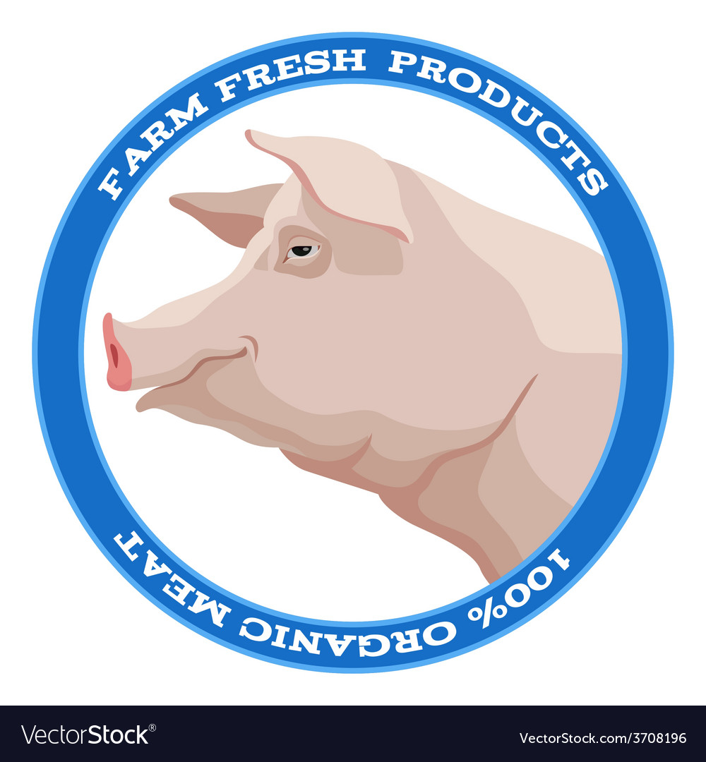 Pig label blue vector | Price: 1 Credit (USD $1)