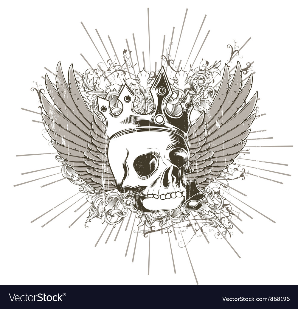 T-shirt design with skull vector | Price: 1 Credit (USD $1)