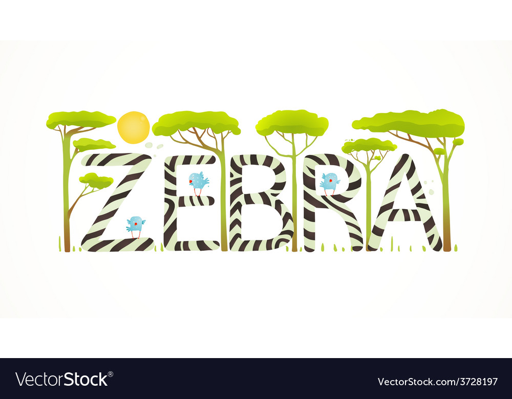 African zebra animals fun lettering cartoon vector | Price: 1 Credit (USD $1)