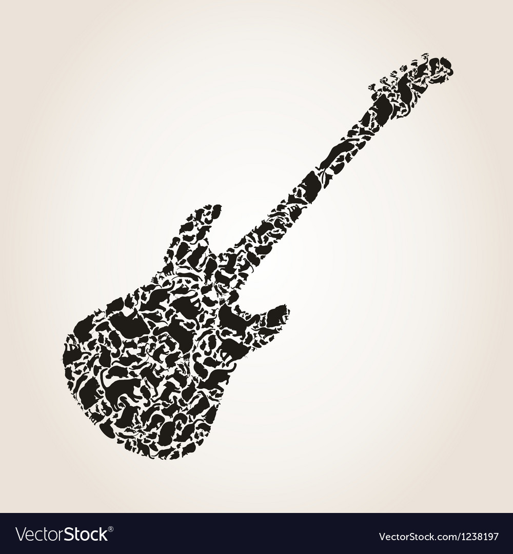 Cat a guitar vector | Price: 1 Credit (USD $1)