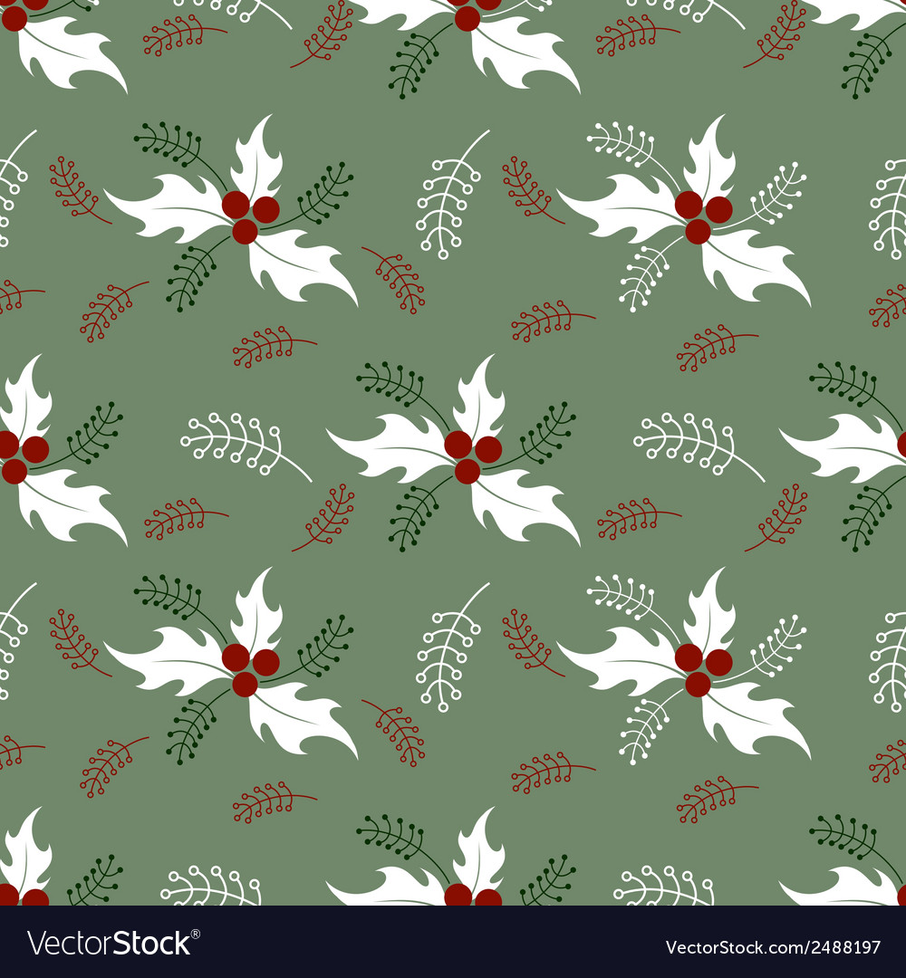 Christmas decorative pattern with holly branches vector | Price: 1 Credit (USD $1)