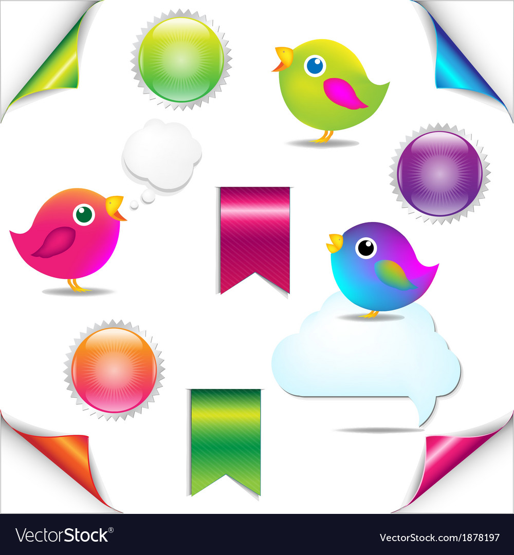 Colorful birds set with ribbon and speech bubble vector | Price: 1 Credit (USD $1)