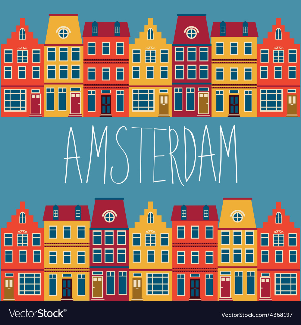 Cute amsterdam houses set vector | Price: 1 Credit (USD $1)