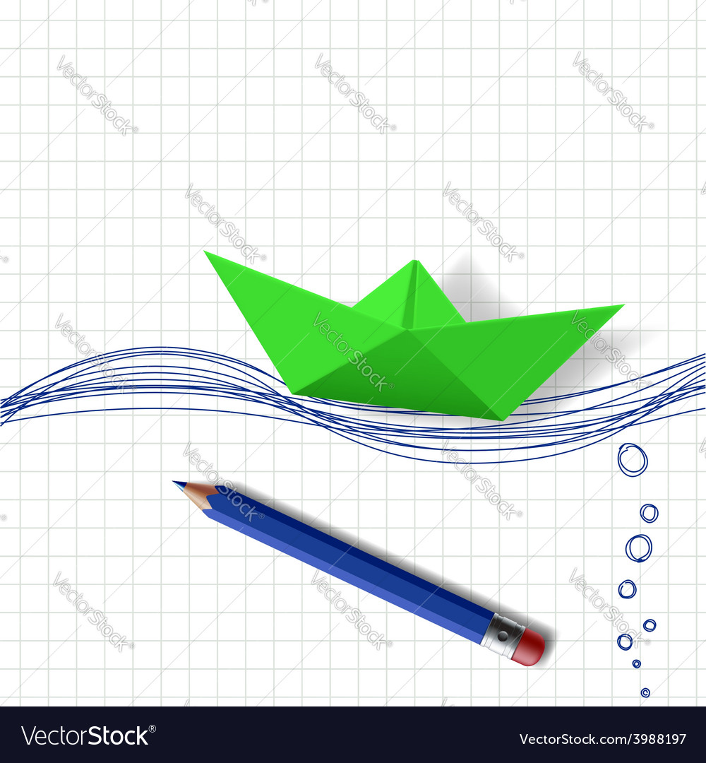 Green paper boat on the water surface which is vector | Price: 1 Credit (USD $1)