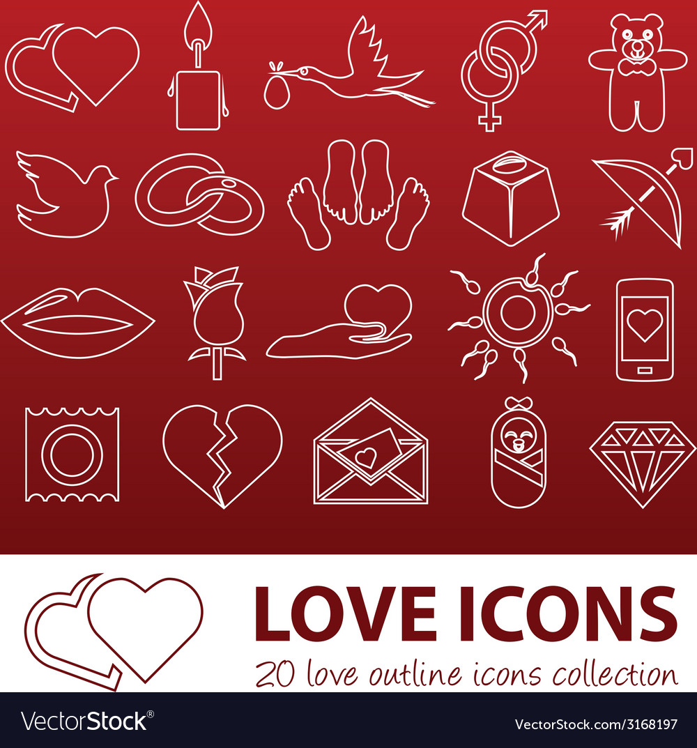 Love outline icons vector | Price: 1 Credit (USD $1)