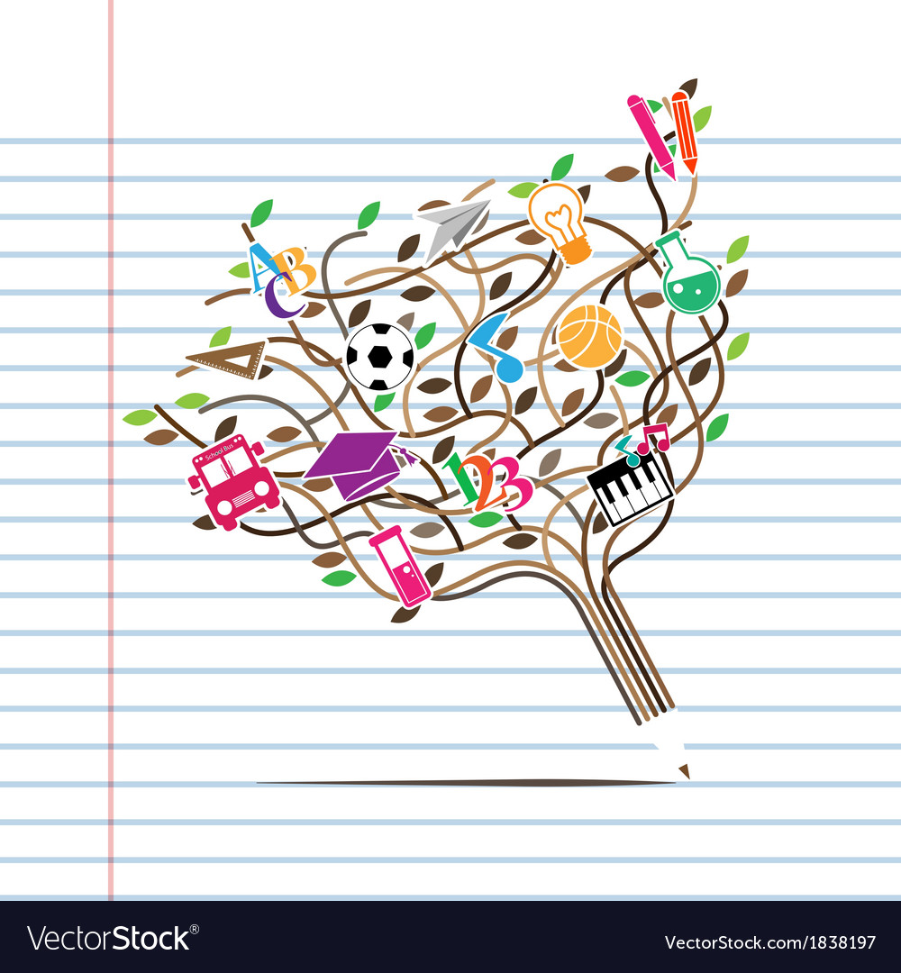 Pencil tree shaped made with school icons vector | Price: 1 Credit (USD $1)