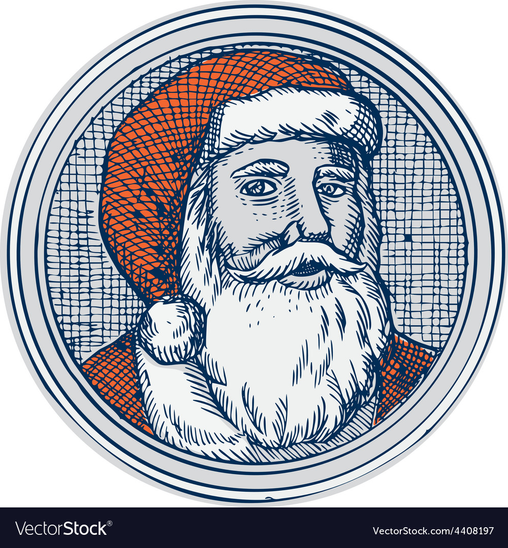 Santa claus father christmas vintage etching vector | Price: 1 Credit (USD $1)