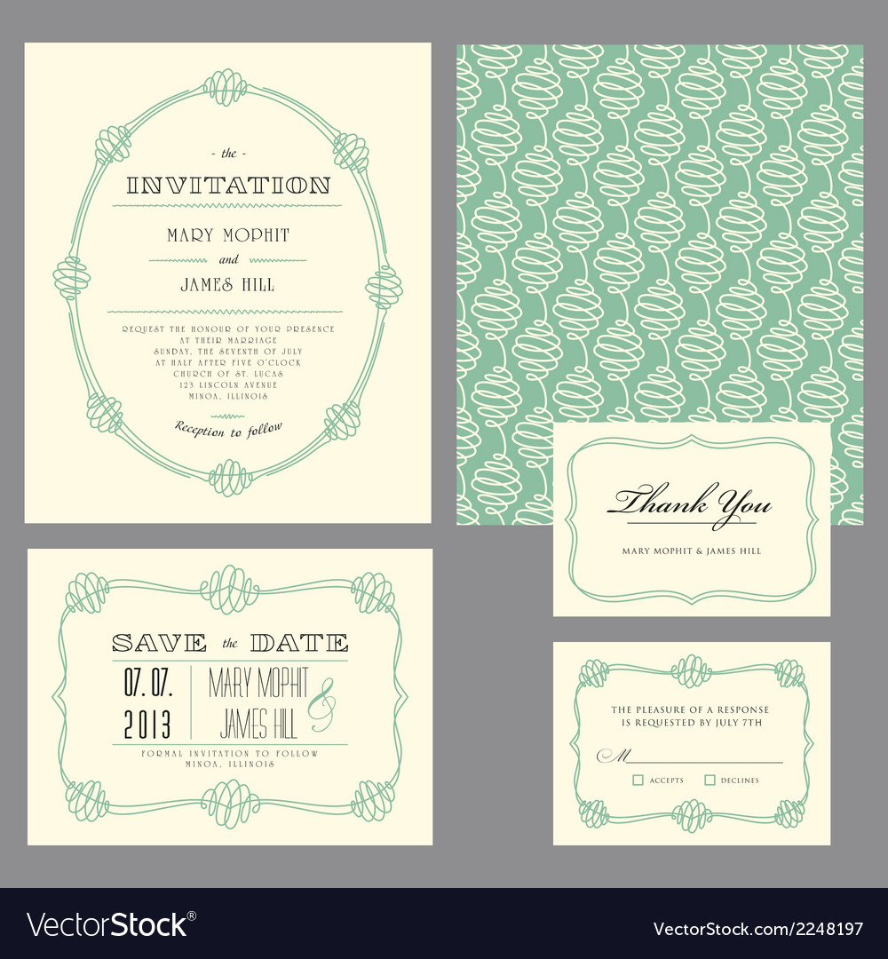 Set classic invitation swirls vector | Price: 1 Credit (USD $1)
