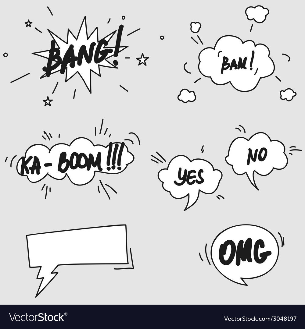 Set of hand drawn comic speech bubbles elements vector | Price: 1 Credit (USD $1)