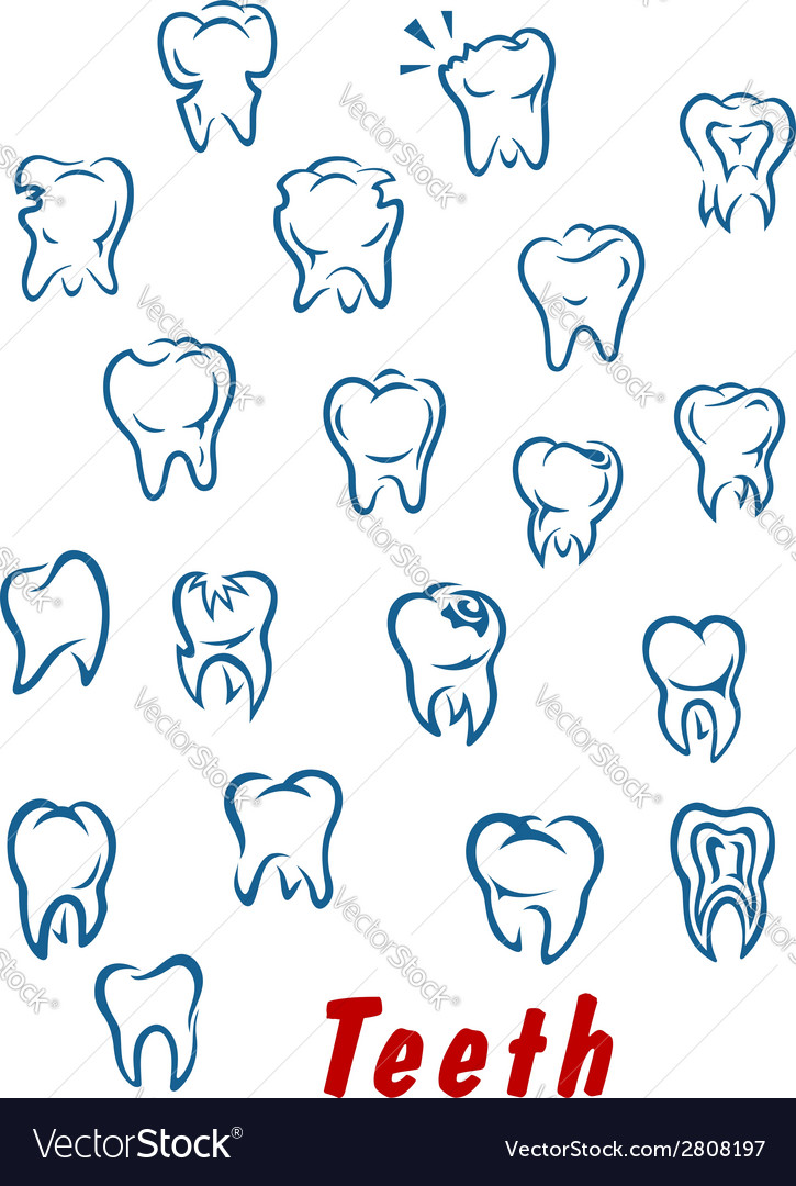 Teeth outline icons set vector | Price: 1 Credit (USD $1)