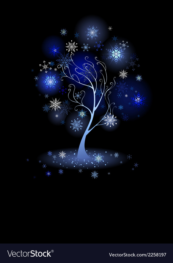 Tree with snowflakes vector | Price: 1 Credit (USD $1)