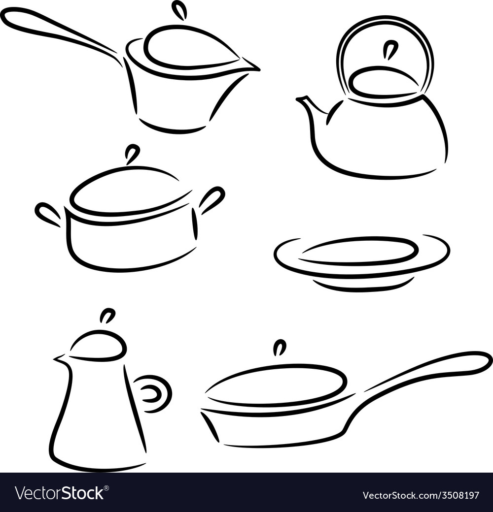 With collection of ware isolated on white vector | Price: 1 Credit (USD $1)