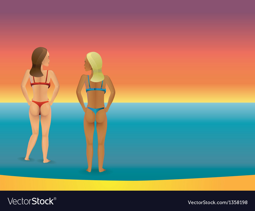 Beach bikini women vector | Price: 1 Credit (USD $1)