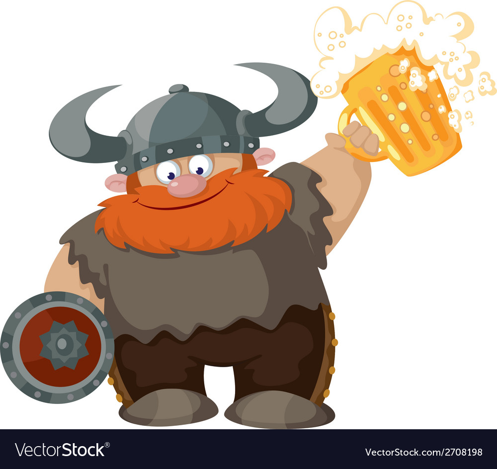 Cartoon viking with beer vector | Price: 3 Credit (USD $3)