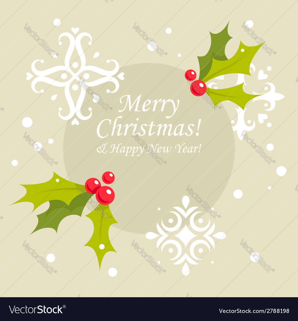 Christmas holly berry card vector | Price: 1 Credit (USD $1)