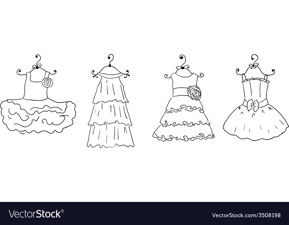 Four different dresses on hangers vector | Price: 1 Credit (USD $1)