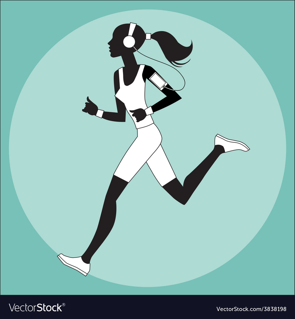Girl athlete to jog music smartphone vector | Price: 1 Credit (USD $1)