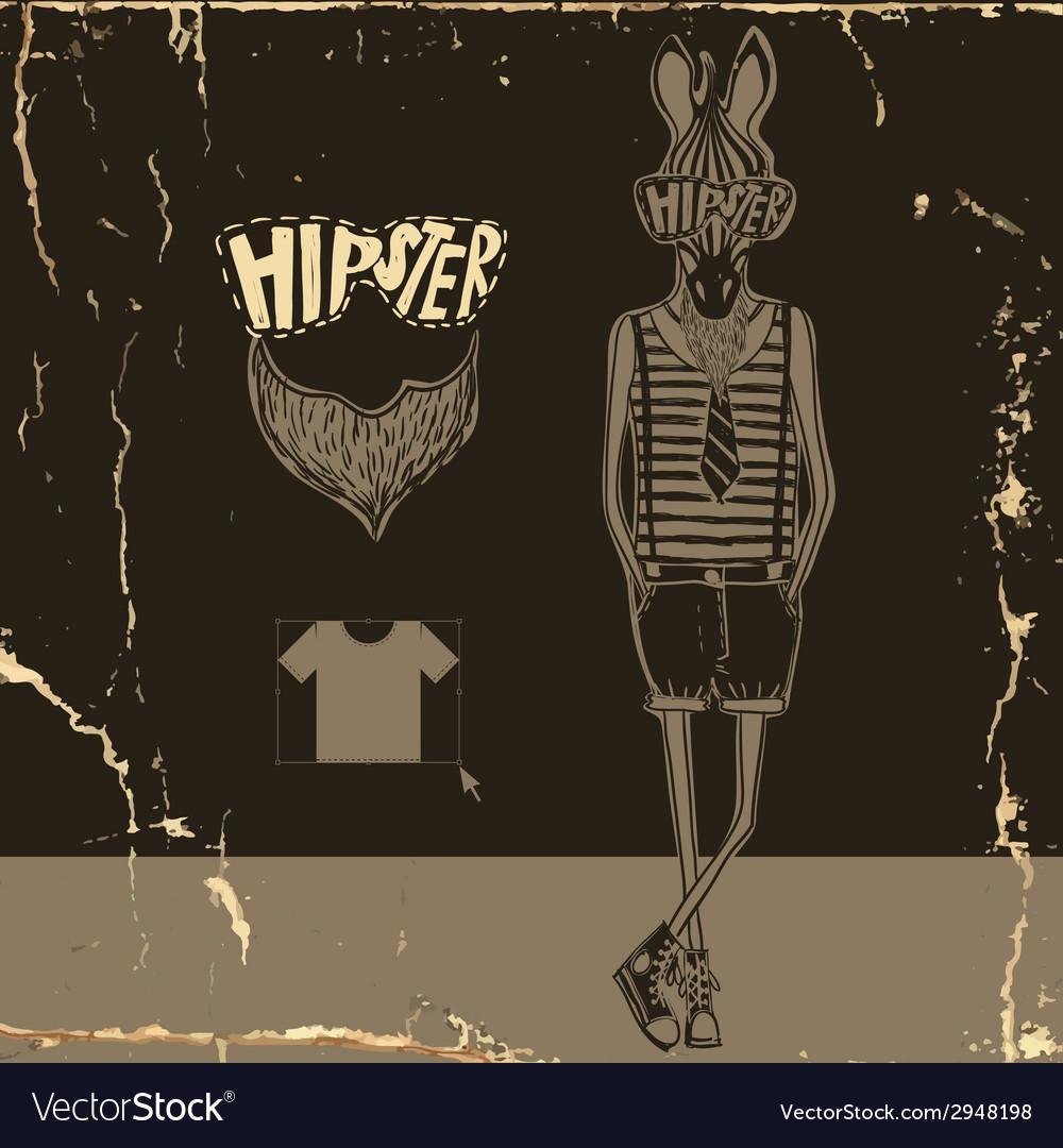 Hand drawn fashion portrait of hipster zebra vector | Price: 1 Credit (USD $1)