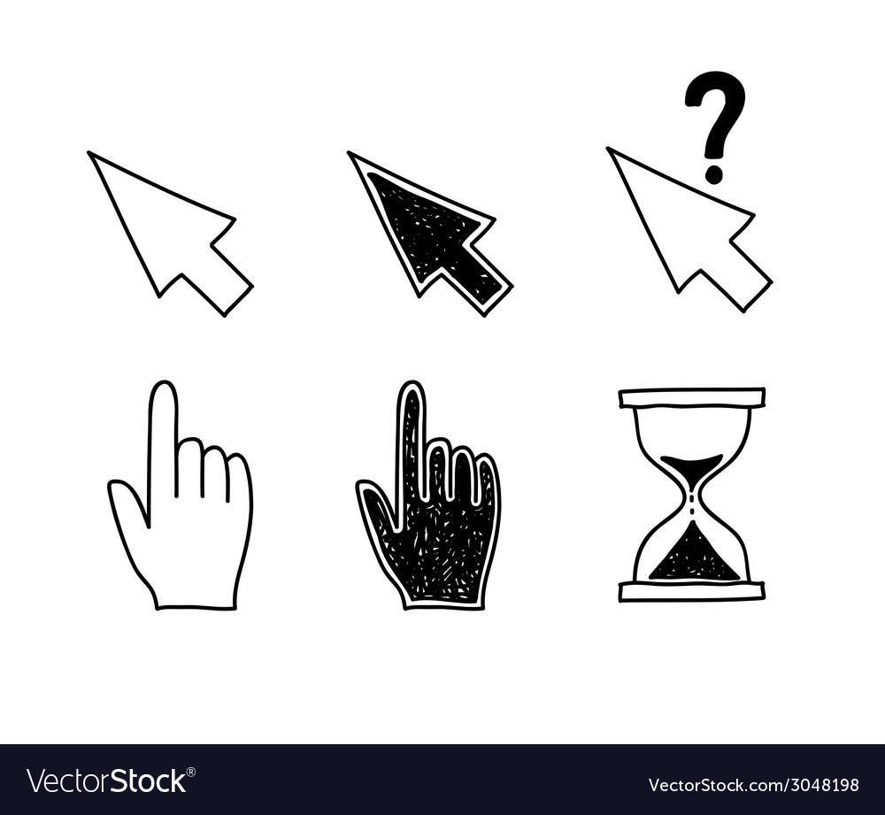 Hand drawn mouse cursors icons pointers arrow vector | Price: 1 Credit (USD $1)