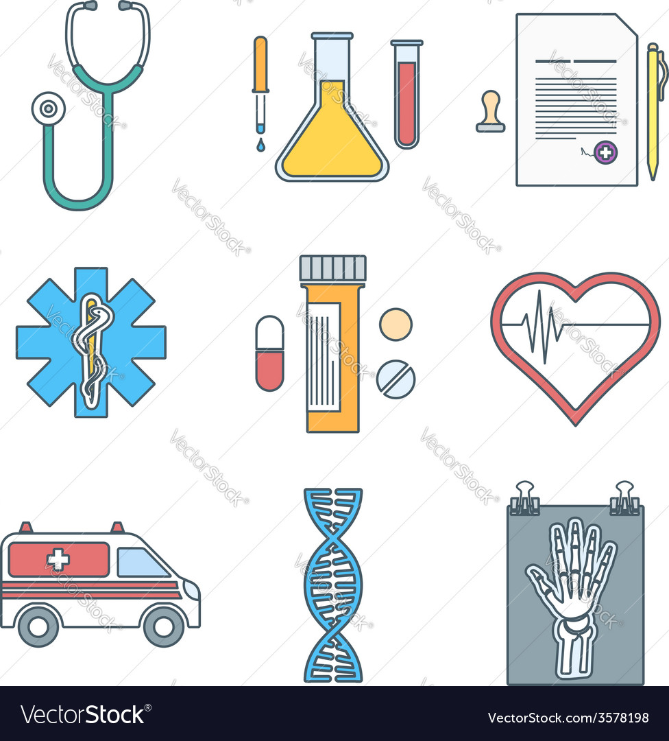 Outline color medical icons set vector | Price: 1 Credit (USD $1)