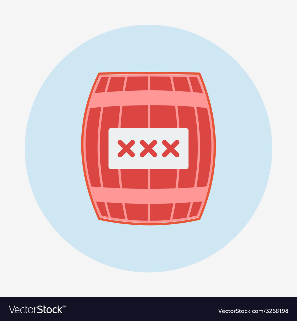 Pirate icon cask or barrel flat design style vector | Price: 1 Credit (USD $1)