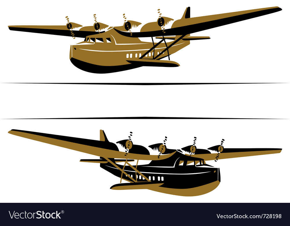 Retro airplane boat icon vector | Price: 1 Credit (USD $1)